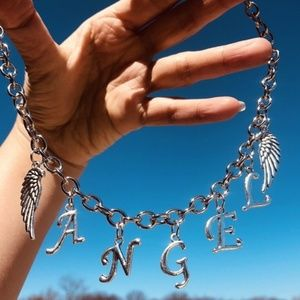 Jewelry - Angel with Wings Letter Word Necklace Choker